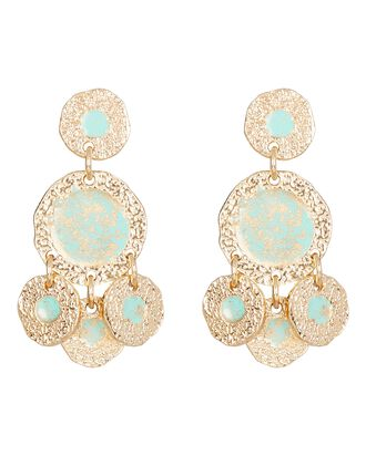 Illusion Hammered Disc Drop Earrings, TURQUOISE, hi-res