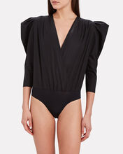 Puff Sleeve Wrap Bodysuit, BLACK, hi-res