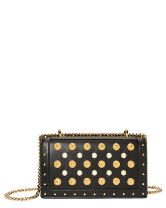 Coin And Pearl Encrusted Shoulder Bag, BLACK, hi-res