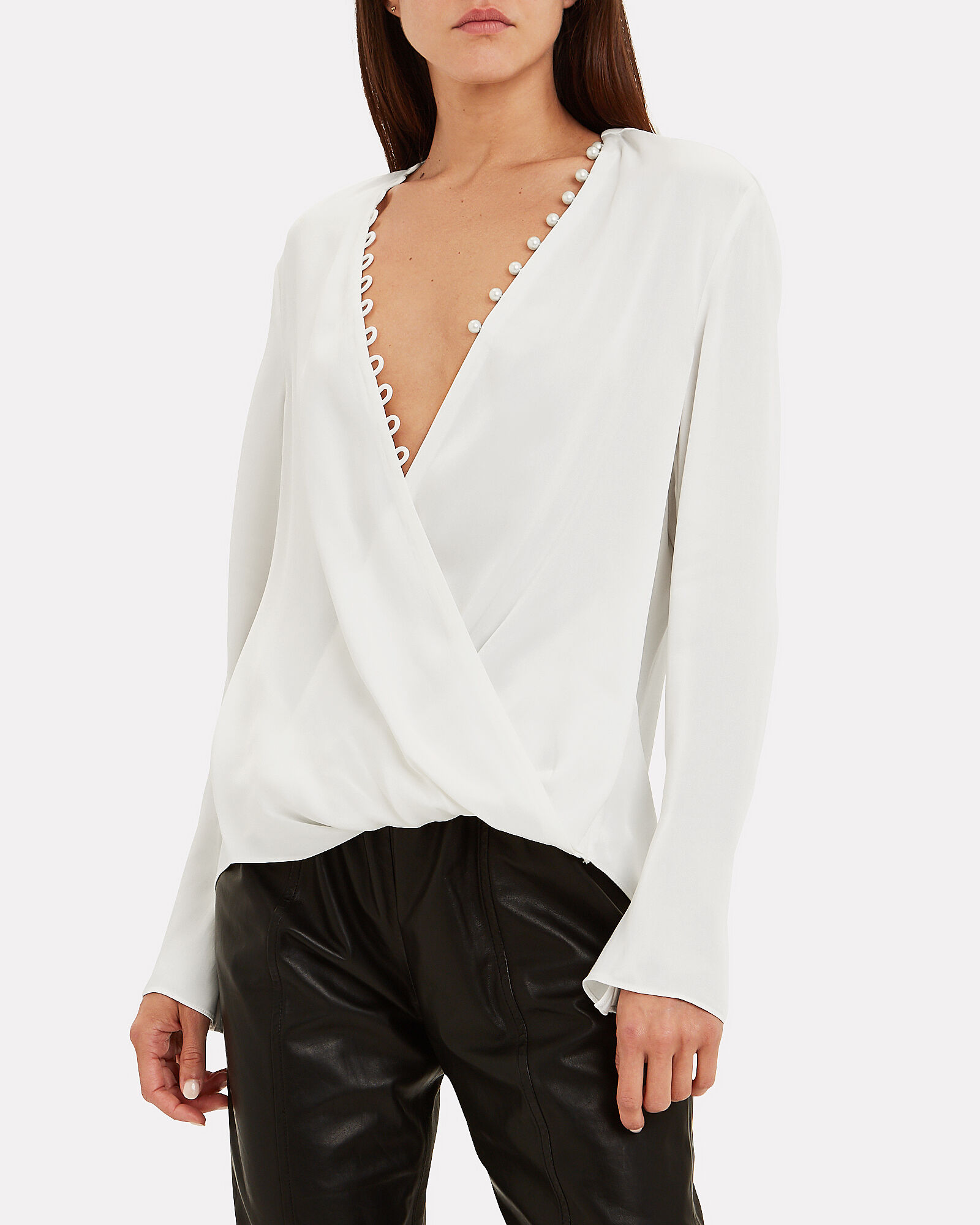 Pearl-Embellished Crepe Blouse, WHITE, hi-res