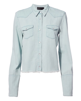 Ashley Western Cropped Jacket, DENIM-LT, hi-res
