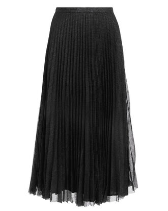 Lovisa Black Pleated Skirt, BLACK/SILVER METALLIC, hi-res