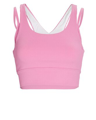Rib Knit Double Jump Sports Bra, PINK, hi-res