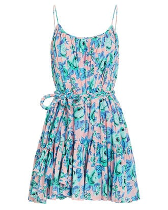 Nala Printed Cotton Mini Dress, BLUE/PINK, hi-res