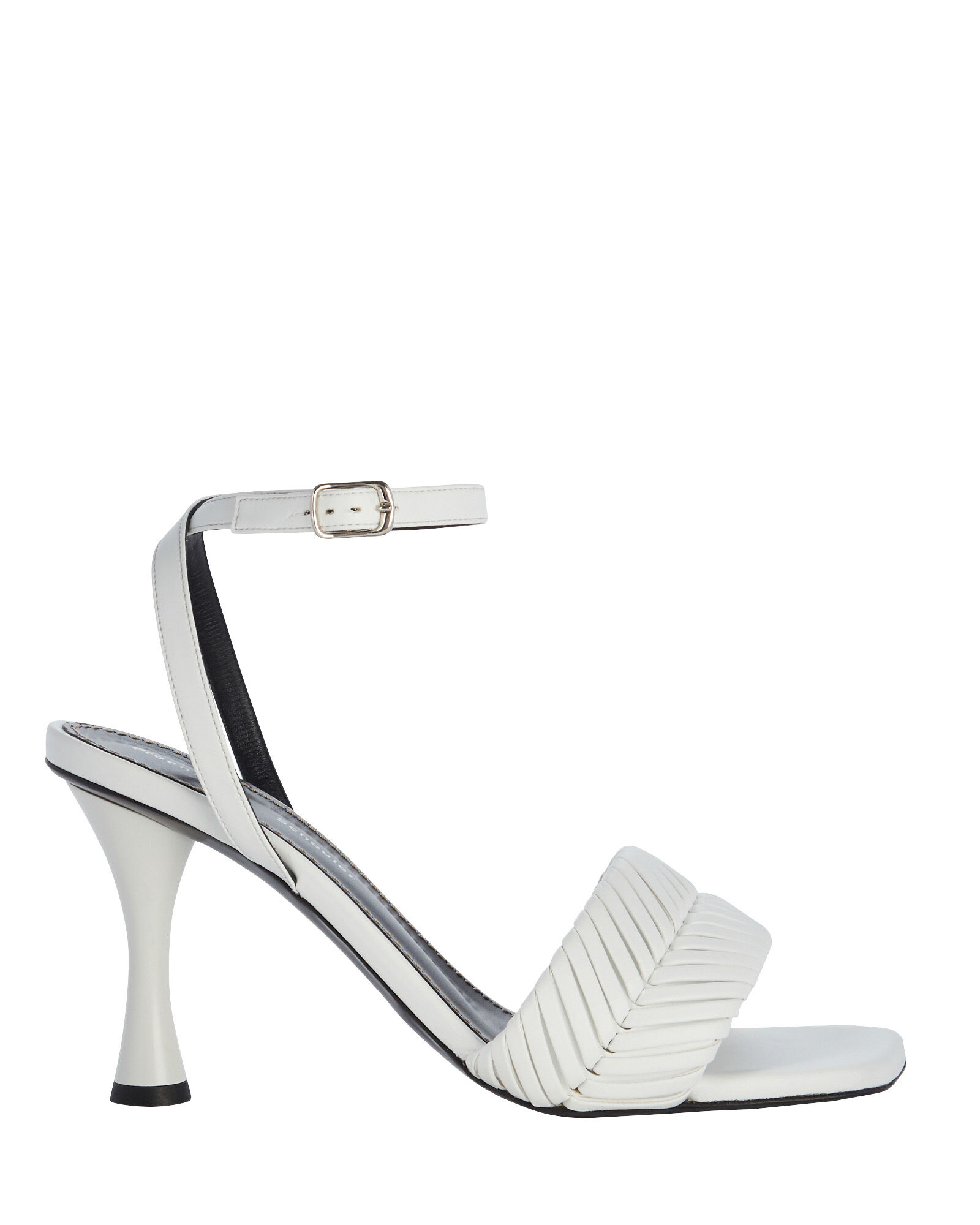Woven Leather Sandals, WHITE, hi-res