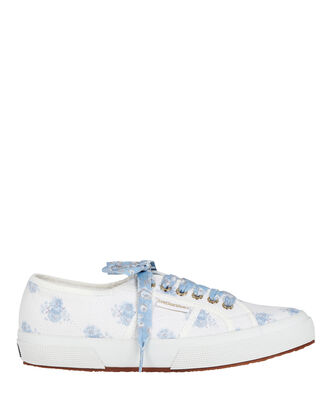 Superga x LoveShackFancy Floral Canvas Platform Sneakers, WHITE/BLUE, hi-res