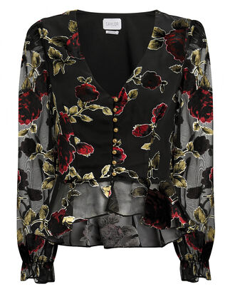 Wynter Floral Burnout Top, BLACK/FLORAL, hi-res