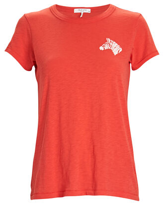 Zebra Graphic Crewneck T-Shirt, BRIGHT CORAL, hi-res