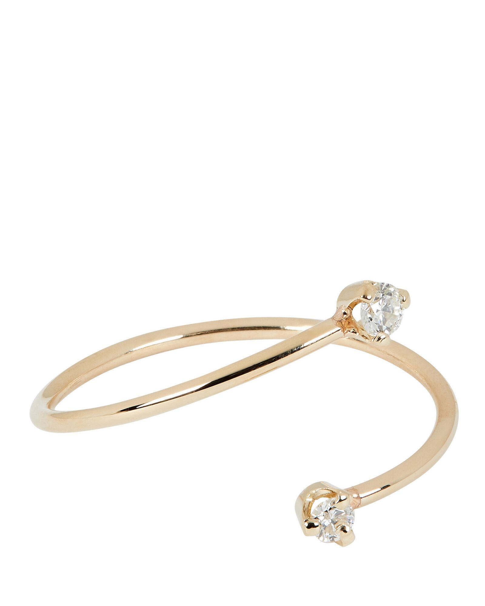 Open Bypass Diamond Stacking Ring, GOLD, hi-res
