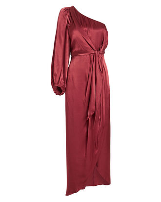 Joan One-Shoulder Draped Dress, TERRACOTTA, hi-res