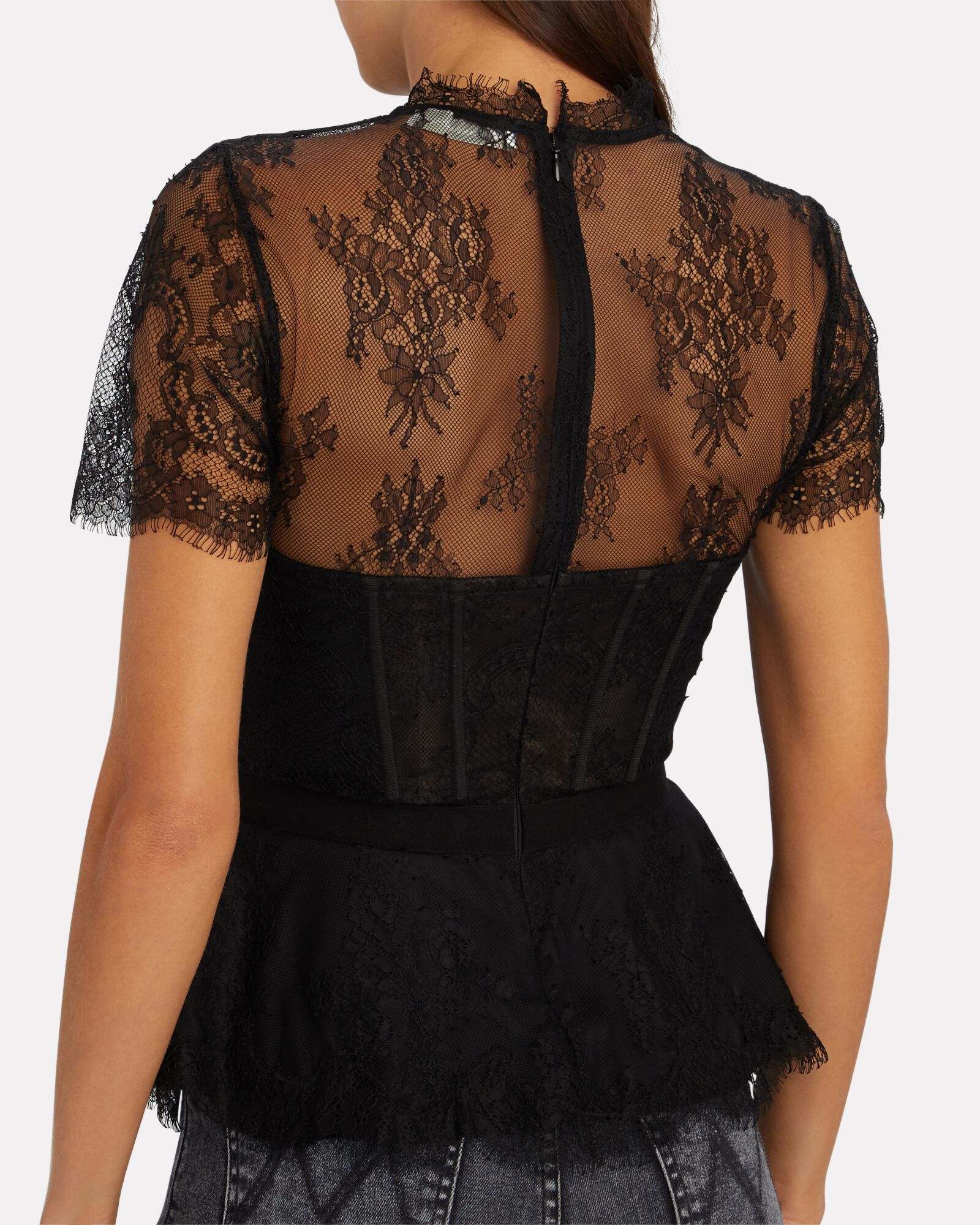 Kehlani Lace Bustier Top, BLACK, hi-res