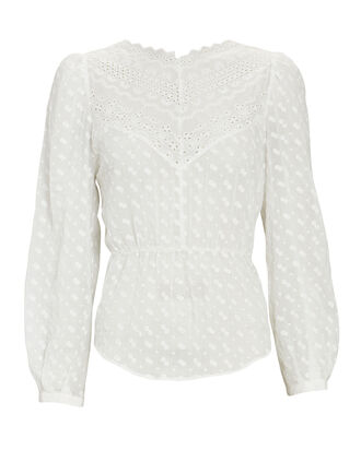 Taziae Embroidered Long Sleeve Top, WHITE, hi-res