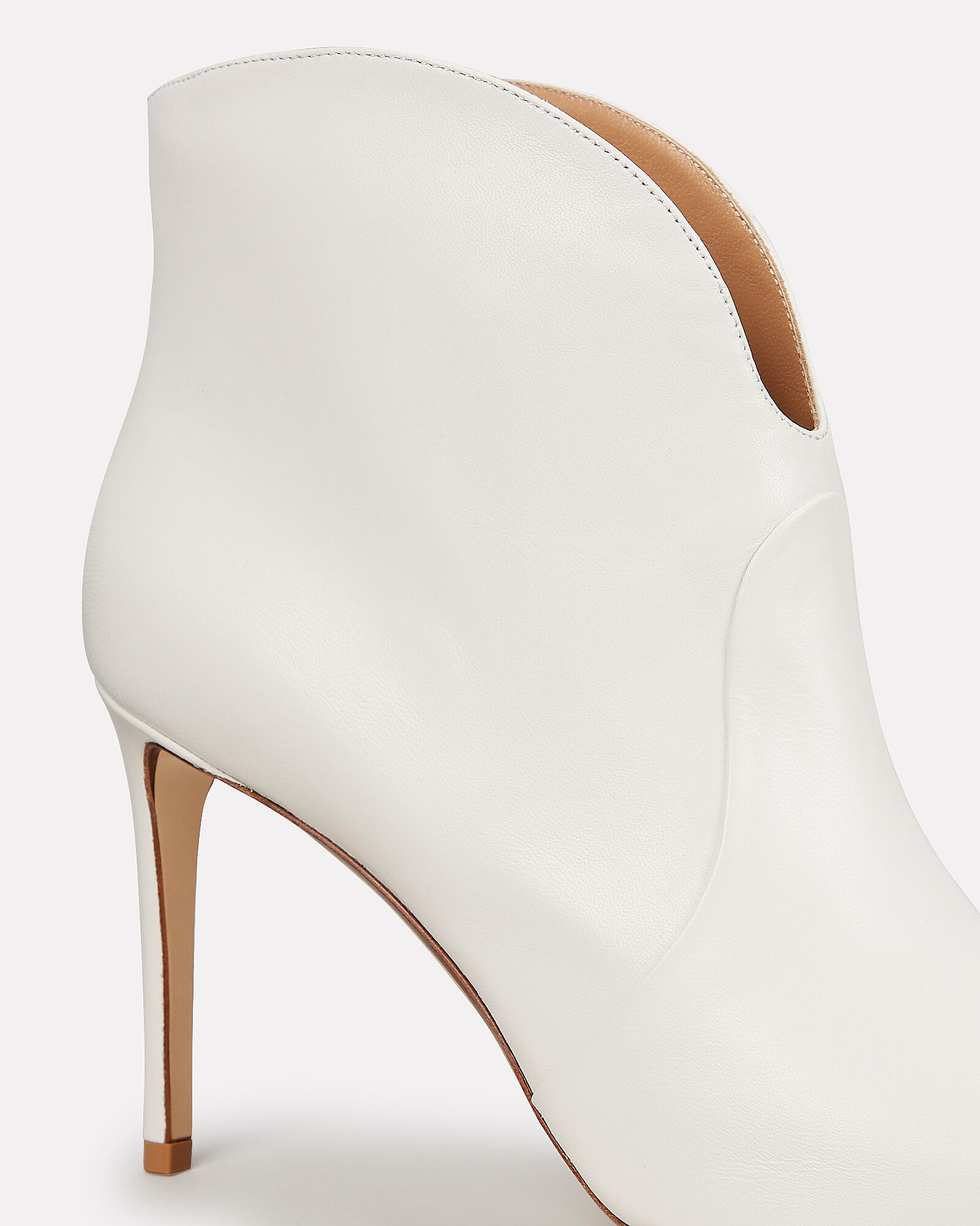 White Curve Top Leather Booties, WHITE, hi-res