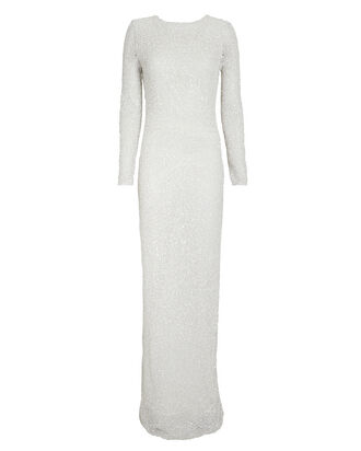 Pearl and Sequin Embellished Gown, SILVER, hi-res