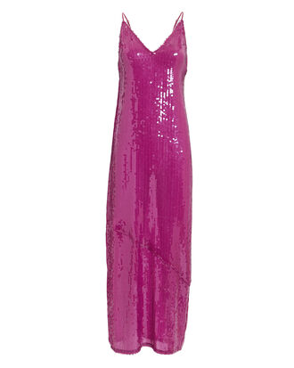 Sequin Slip Midi Dress, DARK PINK, hi-res