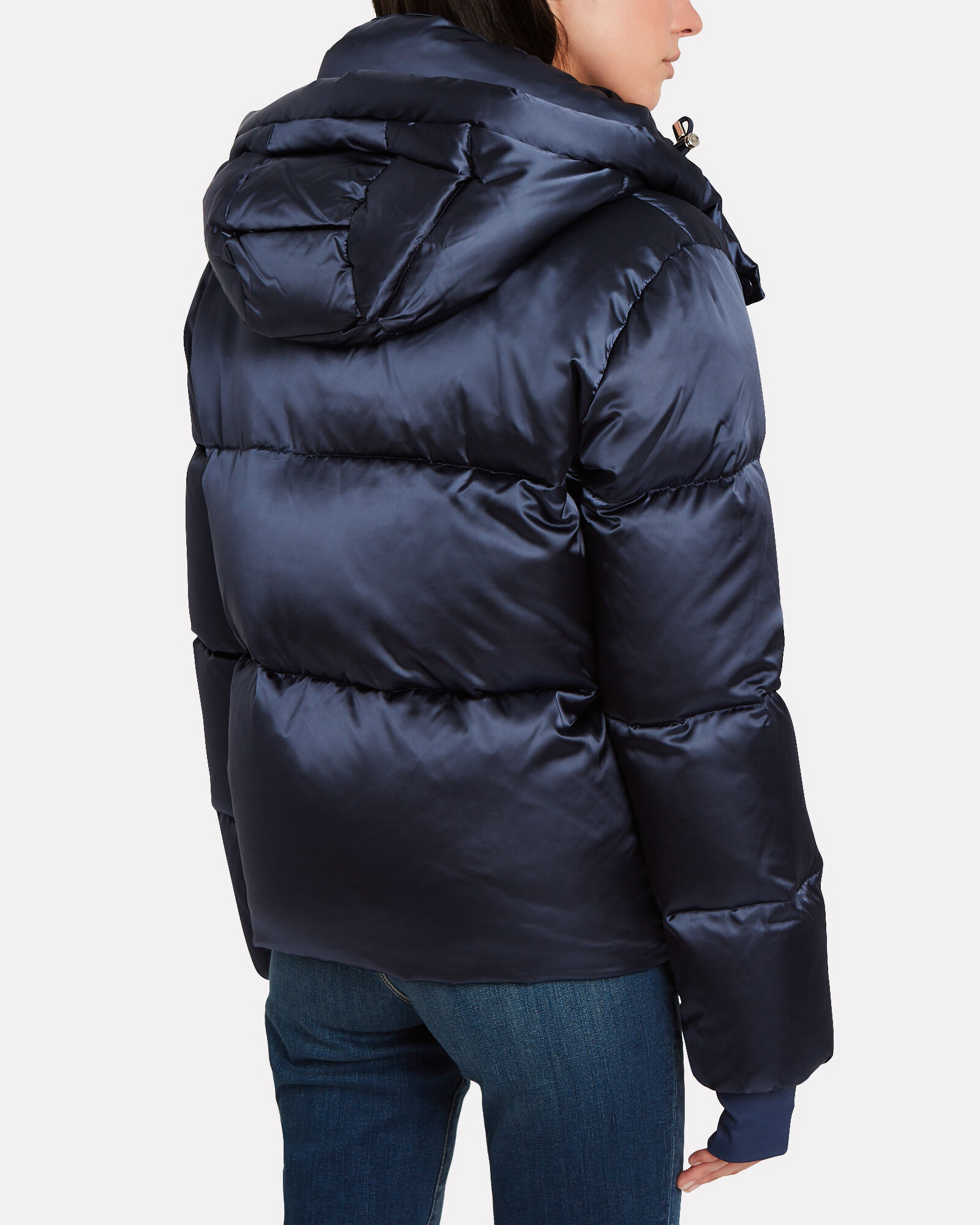 Sydney Satin Down Puffer Jacket, NAVY, hi-res