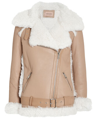 Shearling Moto Jacket, BROWN/IVORY, hi-res