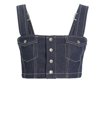 Braxton Denim Snap-Front Crop Top, DENIM-DRK, hi-res