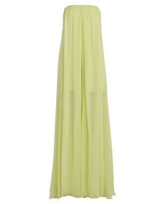 Strapless Silk Wide Leg Jumpsuit, CHARTREUSE, hi-res