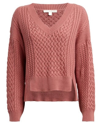 Cotton-Blend Cable Knit Sweater, PINK, hi-res