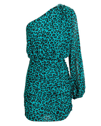 Blue Leopard Mini Dress, BLUE/BLACK, hi-res