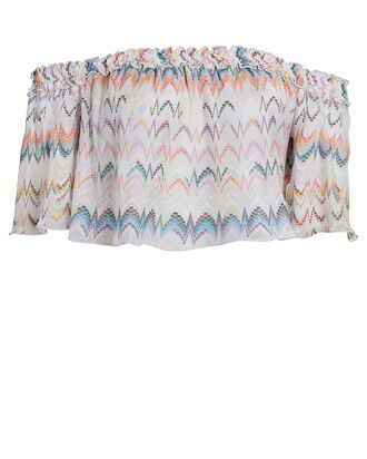 Off-The-Shoulder Chevron Crop Top, MULTI, hi-res