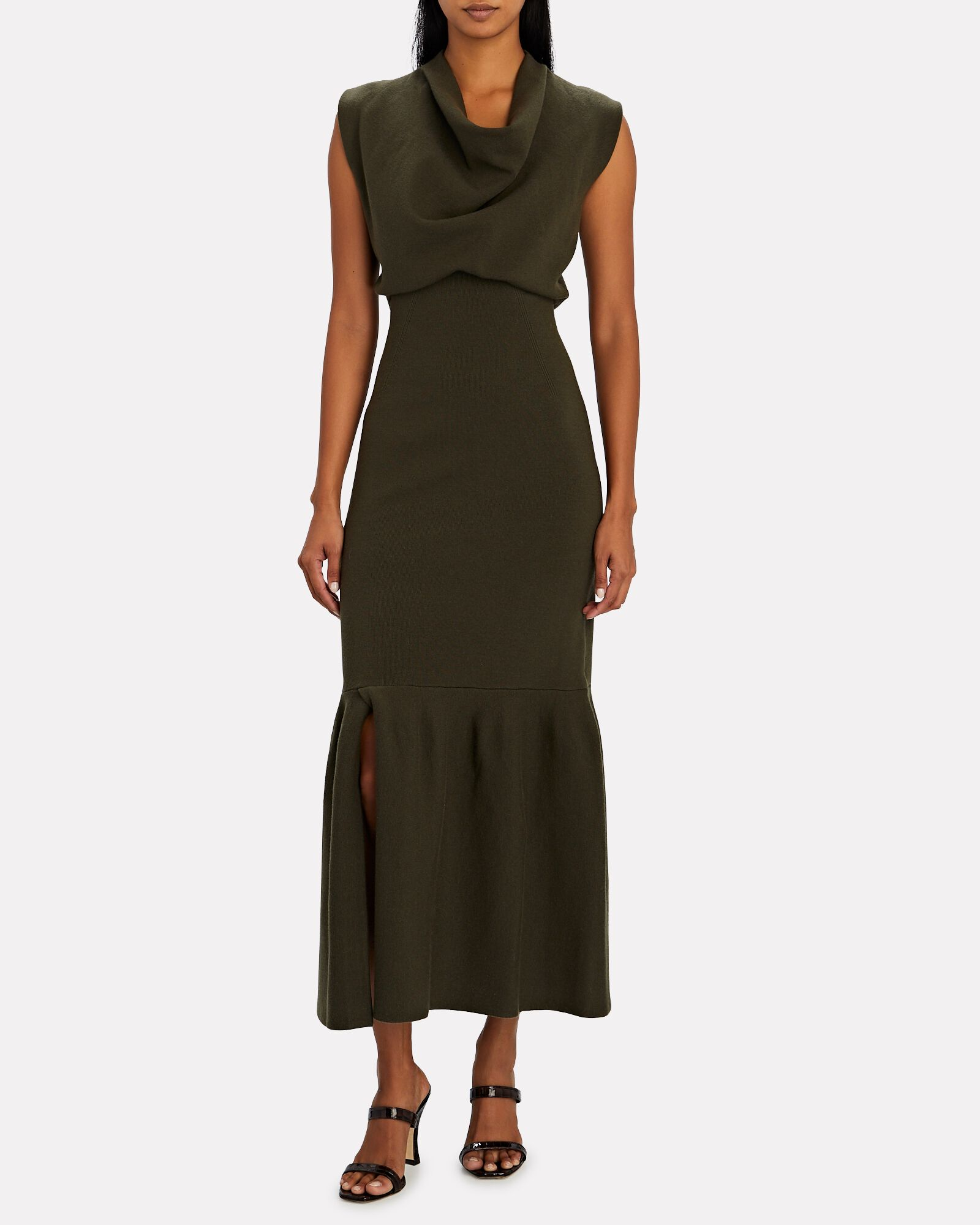 Rib Knit Cowl Neck Maxi Dress, OLIVE/ARMY, hi-res