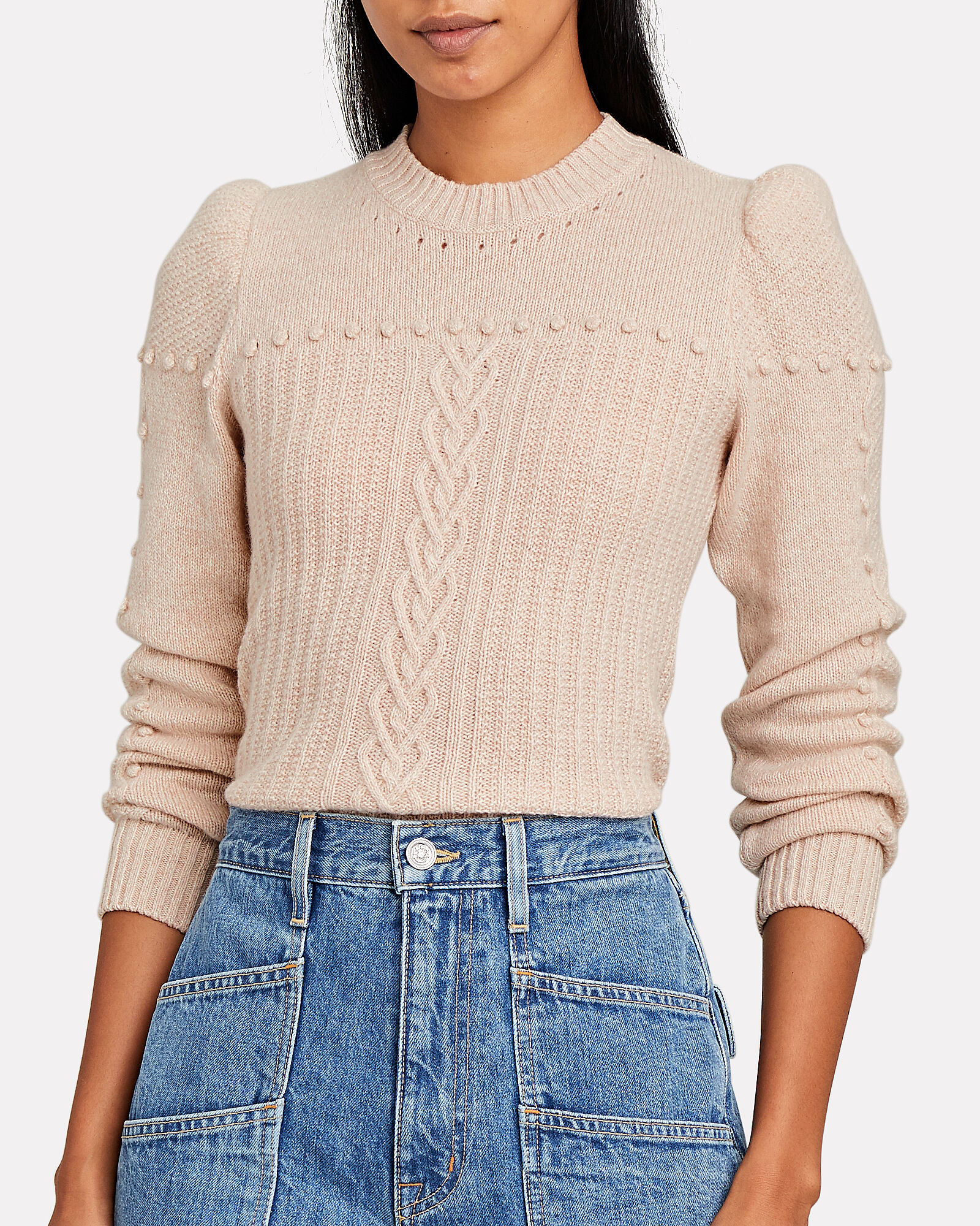 Puff Sleeve Cashmere Sweater, , hi-res