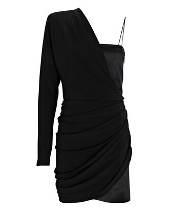Saratov Draped One-Shoulder Dress, BLACK, hi-res