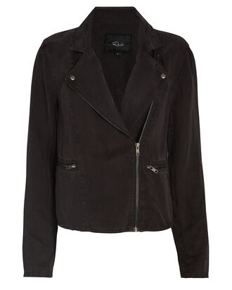 Tencel-Linen Moto Jacket, BLACK, hi-res