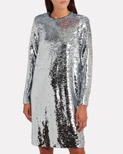 Mirrored Sequin Shift Dress, SILVER/WHITE, hi-res