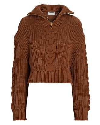 Eria Half-Zip Cable Knit Sweater, BROWN, hi-res
