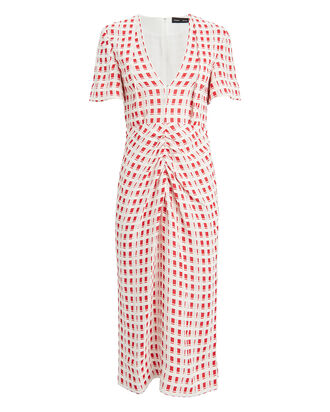 Checkered Jacquard Midi Dress, ECRU/RED, hi-res