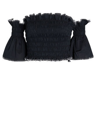 Lilliana Smocked Off-the-Shoulder Top, BLACK, hi-res