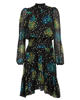 Reese Floral Georgette Dress, MIDNIGHT/BLUE, hi-res
