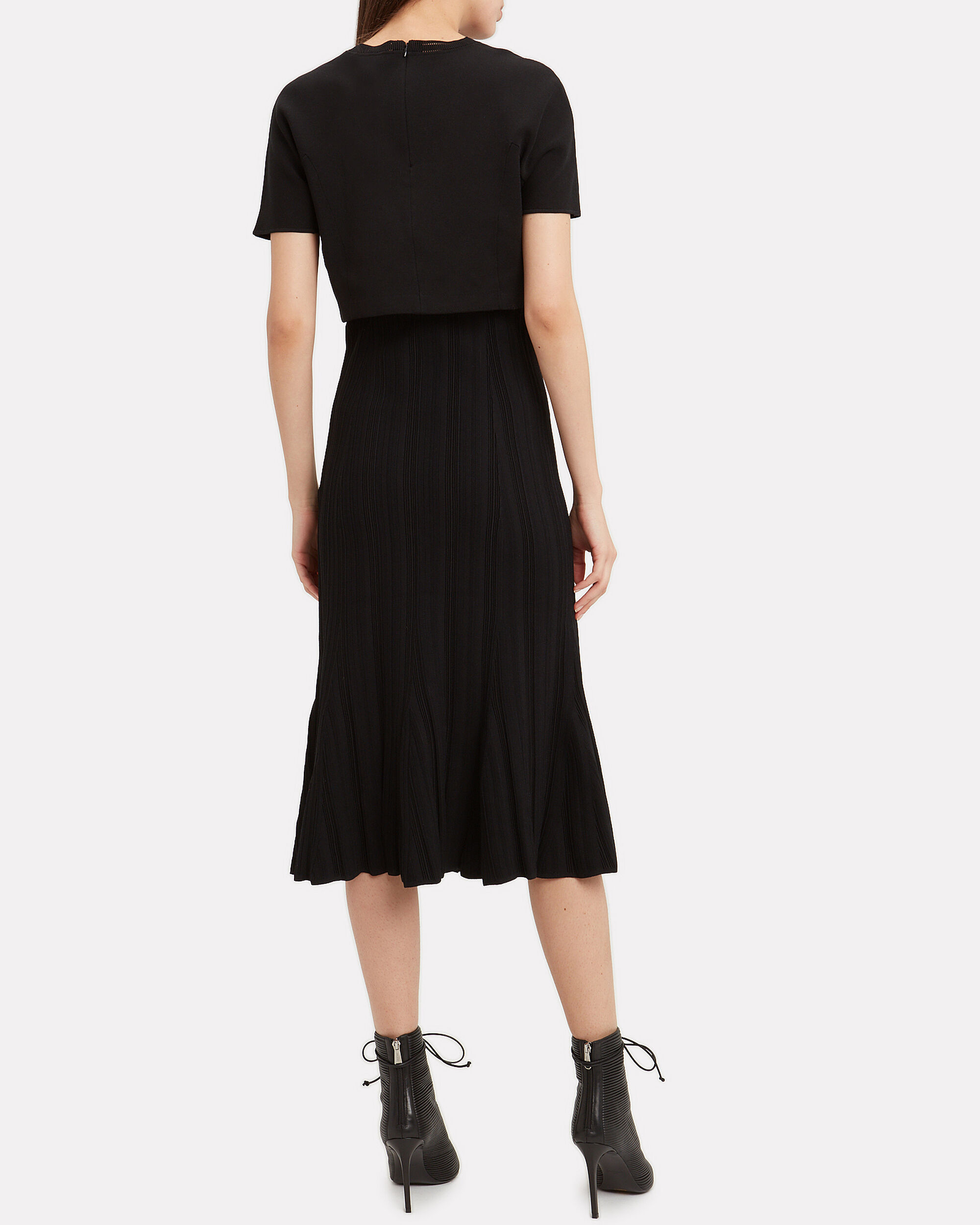 Two-In-One Knit Midi Dress, BLACK, hi-res