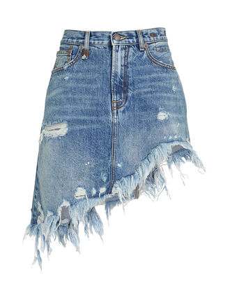 Distressed Asymmetrical Denim Skirt, MEDIUM WASH DENIM, hi-res
