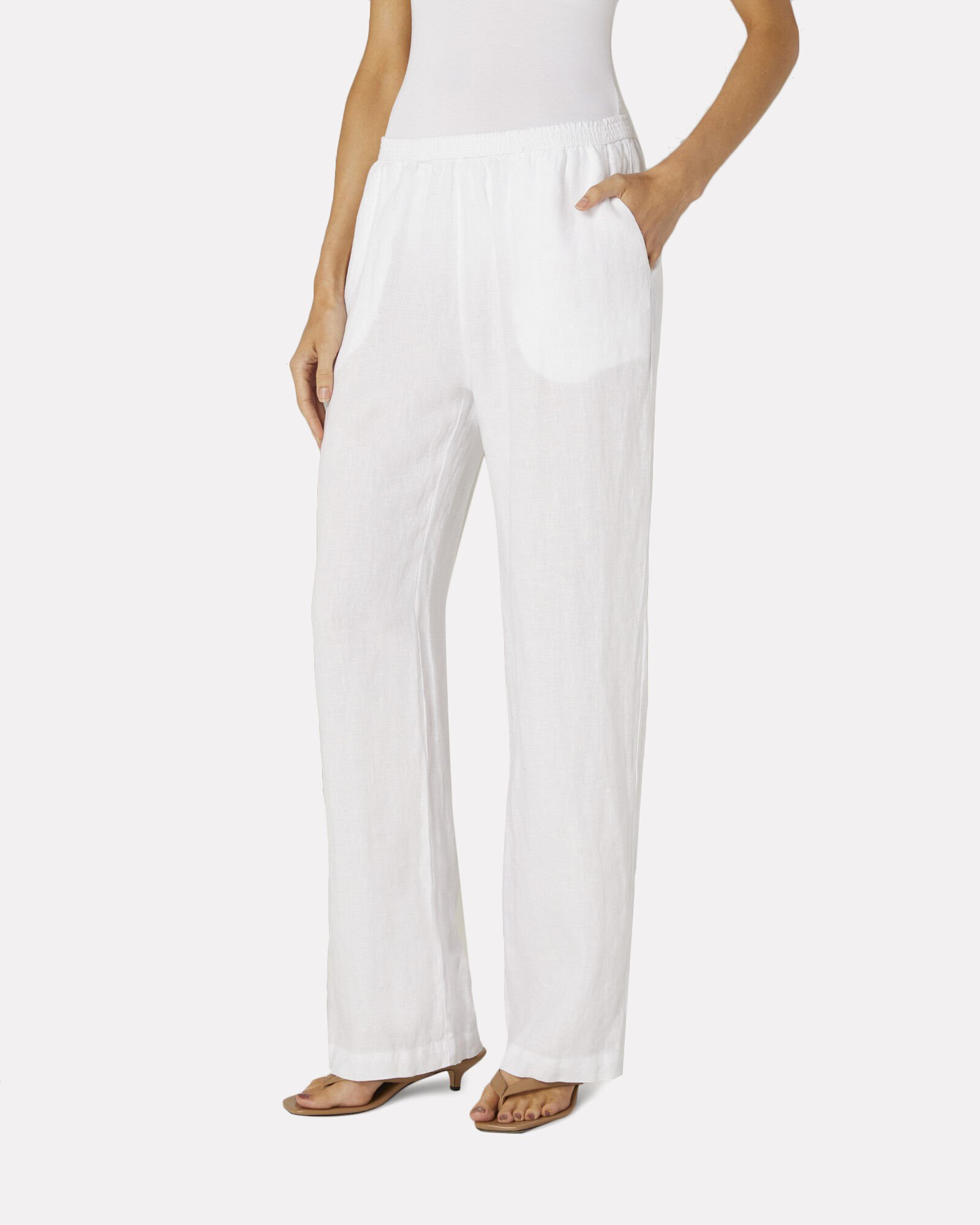 Linen Wide-Leg Lounge Pants, WHITE, hi-res