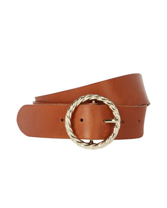 Twisted Circle Leather Belt, BROWN, hi-res