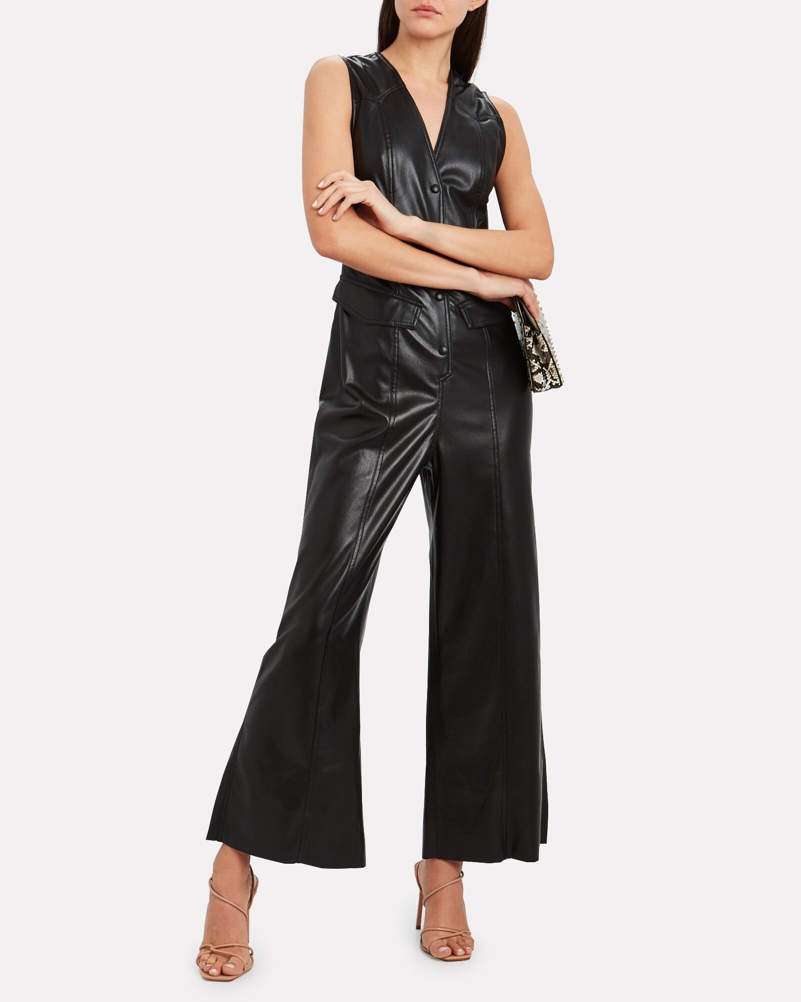 Freya Vegan Leather Jumpsuit, BLACK, hi-res