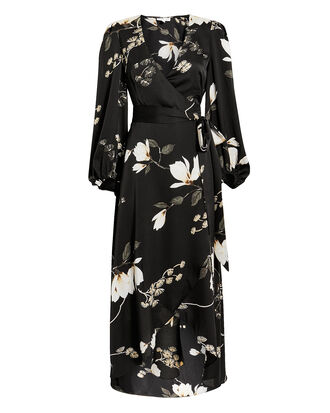 Rylant Wrap Dress, BLACK/FLORAL, hi-res