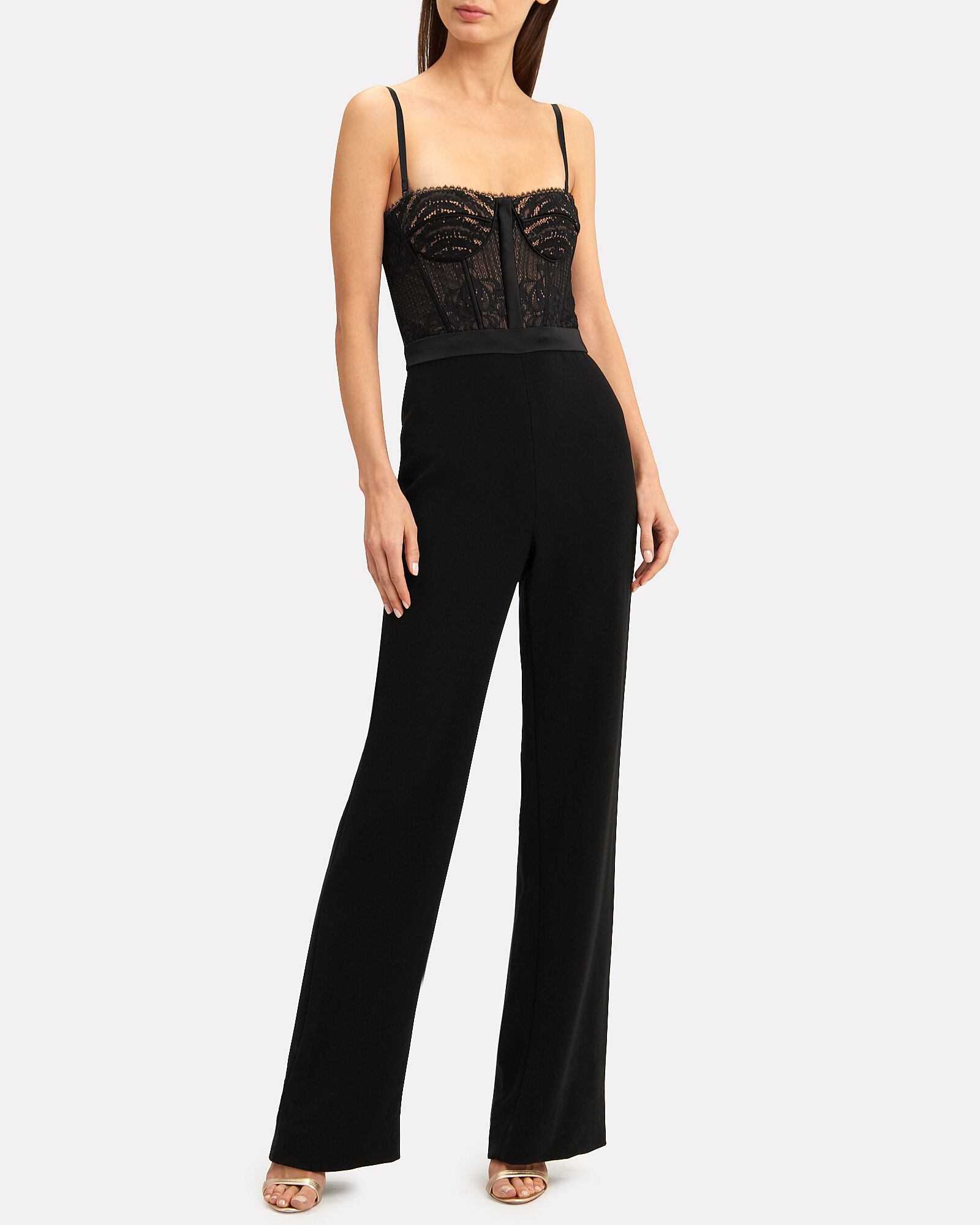 Bustier Lace Jumpsuit, BLACK, hi-res