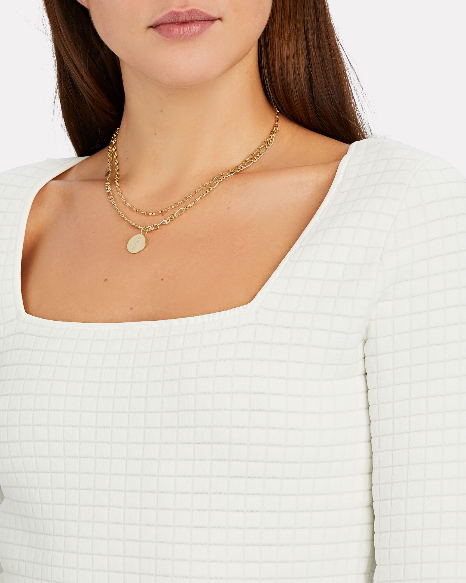 Double Layer Figaro Chain Necklace, GOLD, hi-res