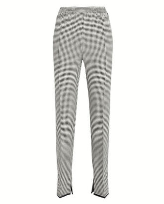 Minori Wool-Cotton Checked Trousers, BLK/WHT, hi-res
