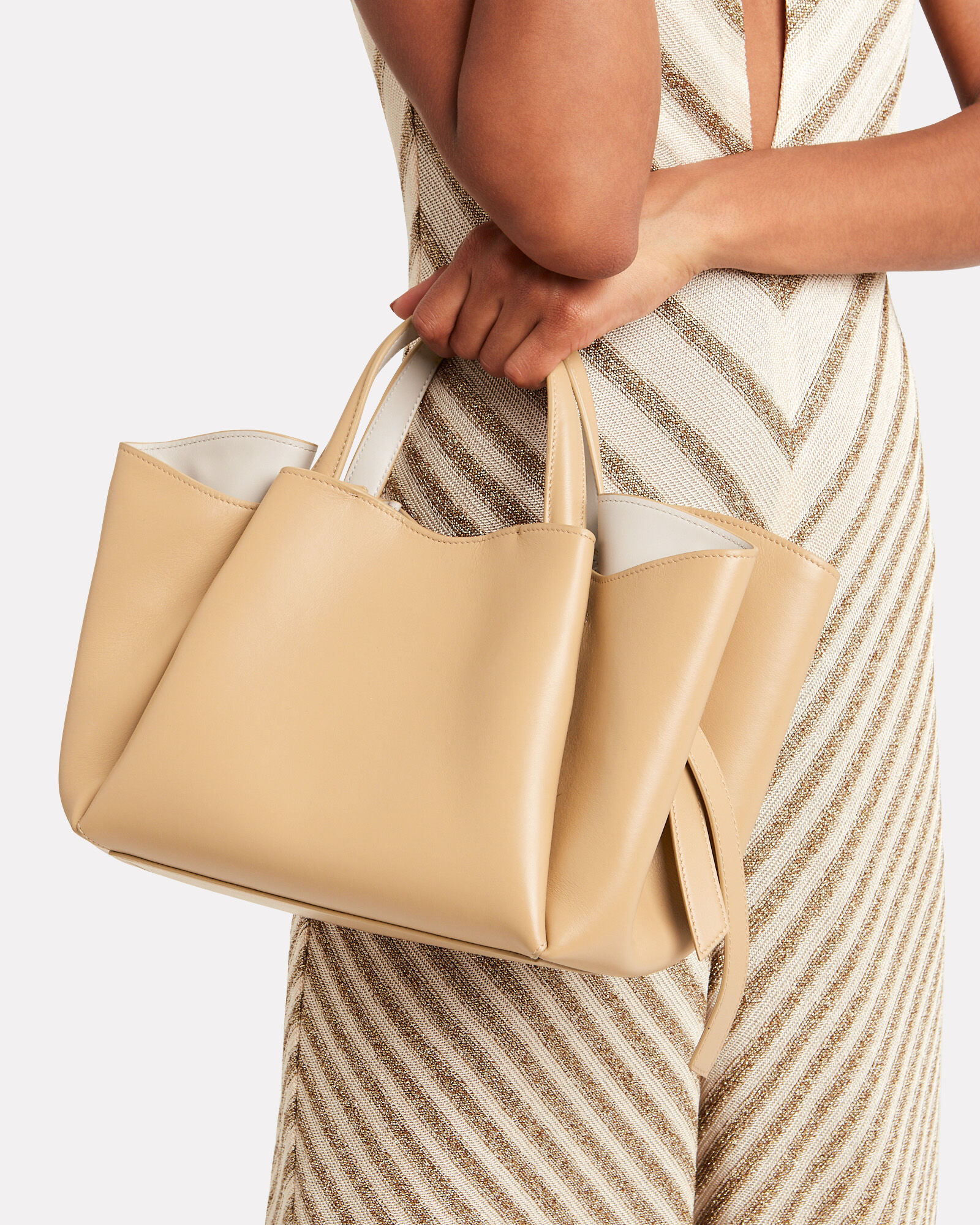 Holly Pleated Leather Shopper, BEIGE, hi-res