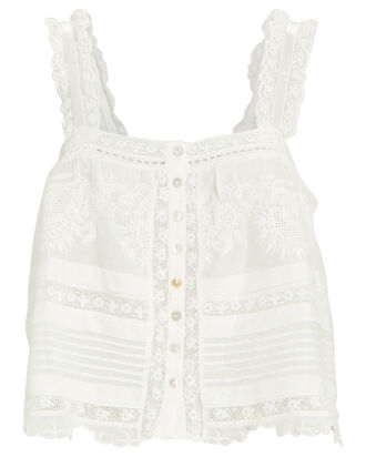 Sully Lace Tank Top, WHITE, hi-res