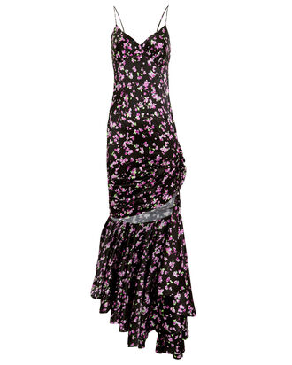 Asymmetrical Silk Floral Dress, BLACK/FLORAL, hi-res