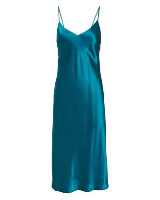 Jodie Silk Slip Dress, TEAL, hi-res