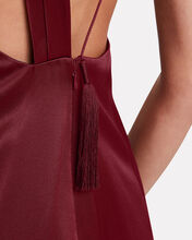 Open Back Draped Silk Dress, RED-DRK, hi-res