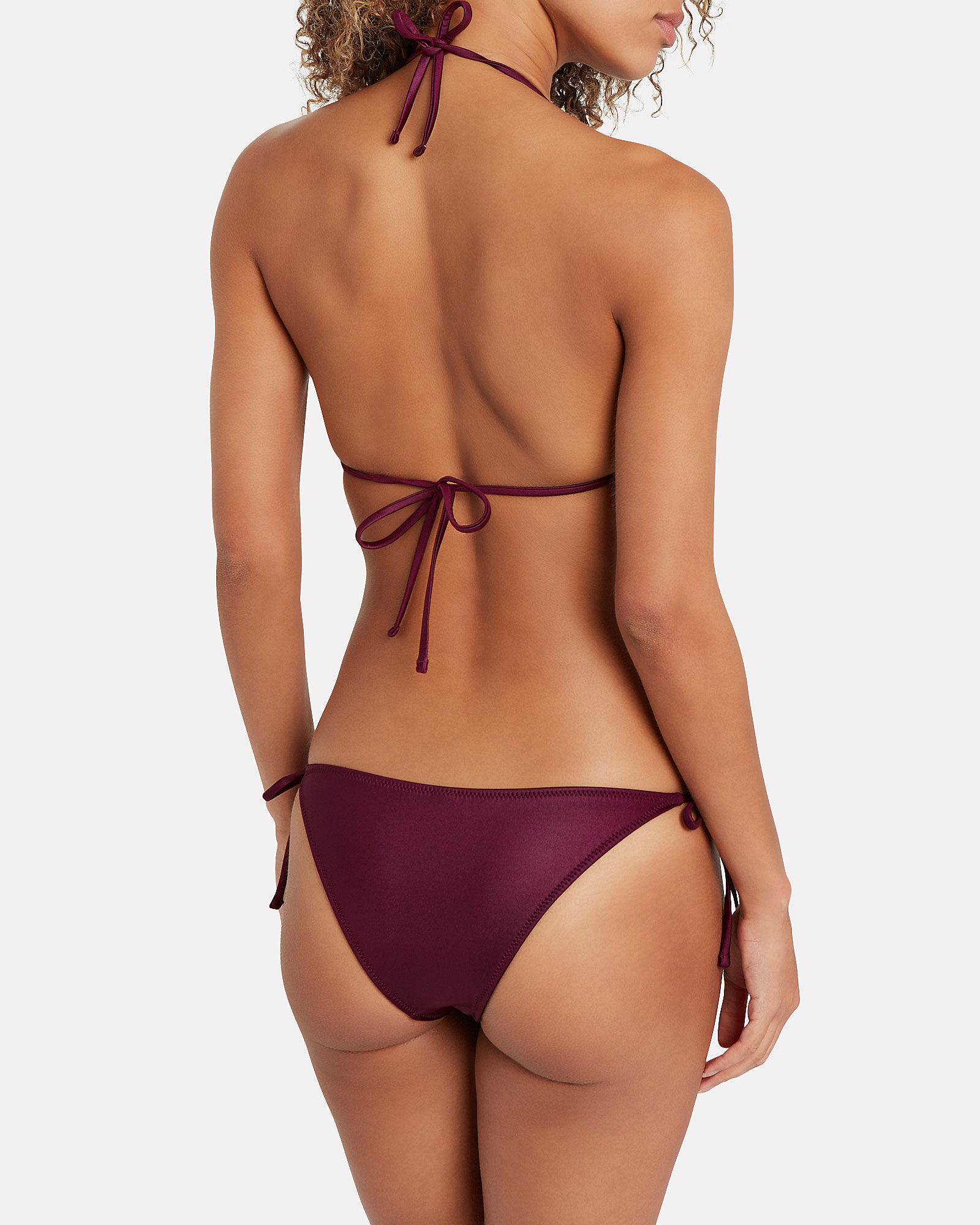 Iris Coated Tie Bikini Bottoms, PURPLE-DRK, hi-res